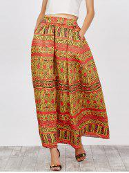 African Printed High Waist Skirts - YELLOW