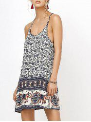 Floral Mini Backless Slip Summer Dress - DEEP BLUE
