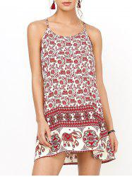 Floral Mini Backless Slip Summer Dress - RED