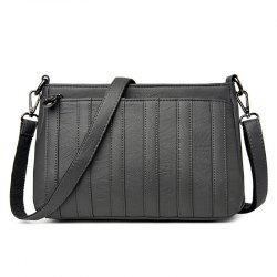 Faux Leather Striped Cross Body Bag