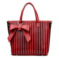 Bowknot Striped Tote Bag