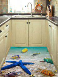 3D Beach Starfish Kitchen Floor Wall Sticker - LAKE BLUE