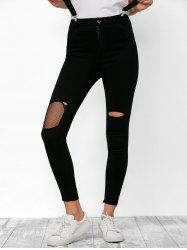 Zipper Fly Ripped Fishnet Skinny Cropped Jeans