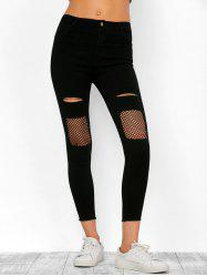 Ripped Fishnet Frayed Hem Skinny Cropped Jeans -
