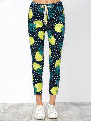 Imitate Pineapple Print Drawstring Ninth Pants