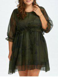 Plus Size  Lantern Sleeve Voile Chiffon Smock Dress