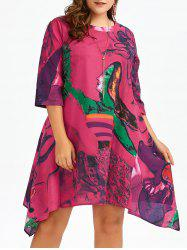 Plus Size Oil Painting Knee Length Asymmetric Dress