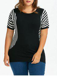 Plus Size Dolman Sleeve Long Striped T-Shirt
