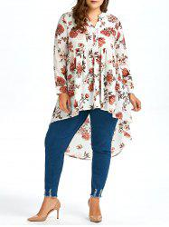 Plus Size High Low Long Chiffon Floral Shirt -