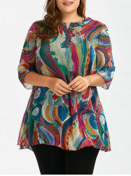 Plus Size Printed Long Chiffon Swing Top