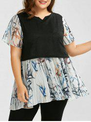 Plus Size Two Layered Long Pleated Chiffon Top