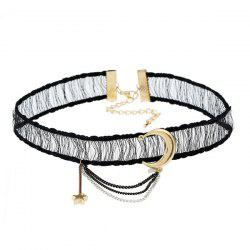 Star Moon Fringed Chain Choker Necklace