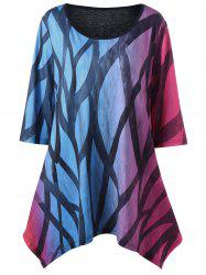 Plus Size Printed Handkerchief Ombre T-Shirt
