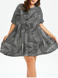 Plus Size Striped Chiffon Smock Dress
