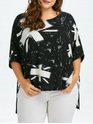Plus Size High Low Wrinkle Union Jack T-Shirt