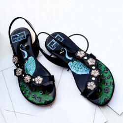 Rhinestones Studded Patent Leather Sandals