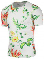 Floral Bird Print Crew Neck T-Shirt
