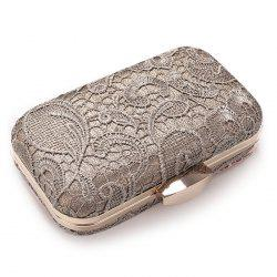 Lace Cover Evening Clutch Bag - GRAY