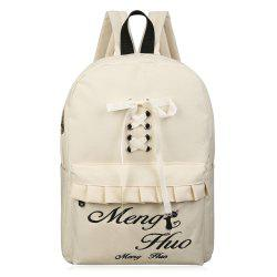 Letter Embroidery Ruffles Lace Up Backpack