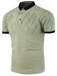 Line Print Slim Fit Polo Shirt
