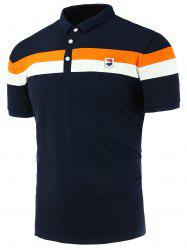 Applique Stripe Panels Polo Shirt
