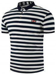 Union Jack Emblem Stripe Polo Shirt