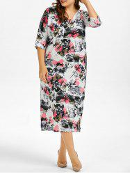 Plus Size Floral Linen Dress