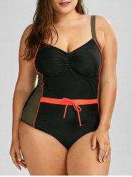 Color Block Plus Size Bandeau Bathing Suit