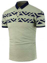 Color Block Printed Polo Shirt