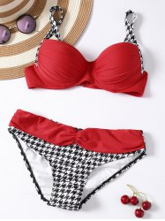 Houndstooth Panel 2 Pieces Bikini Swimwear