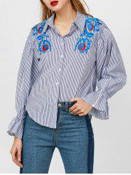 Bell Sleeve Hollow Out Embroidered Shirt