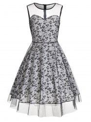 Vintage Butterfly Dress with Mesh Panel - COLORMIX 2XL