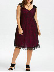 Plus Size Eyelash A Line Midi Lace Retro Dress