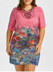 Plus Size Chinese Style Printed Embroidered Dress
