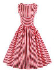 Vintage Stripe Pin Up Dress - RED S