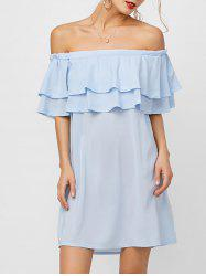 Flounce Off Shoulder Chiffon Casual Short Dress with Sleeves - LIGHT BLUE