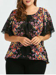Plus Size Semi Sheer Chiffon Floral Top