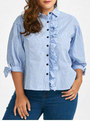 Plus Size Flounced Button Up Stripe Shirt