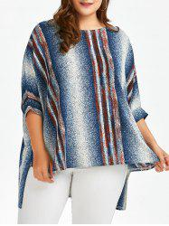 Plus Size Dolman Sleeve Ombre Stripe T-Shirt