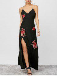 Floral Embroidered High Split Cami Carpet Dress
