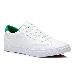 Colour Block Faux Leather Athletic Shoes -