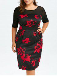 High Waist Floral Plus Size Dress