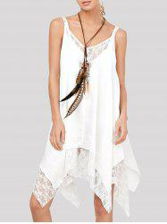 Lace Trim Chiffon Handkerchief Flowing Dress