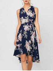 Sleeveless High Low Floral Print Swing Wrap Dress - DEEP BLUE