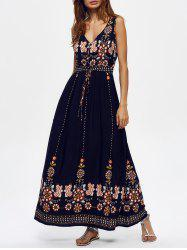 Ankle Length Floral V Neck Maxi Swing Dress - PURPLISH BLUE
