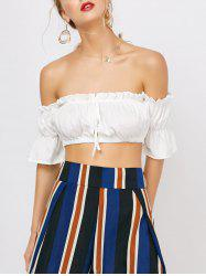 Ruffled Off The Shoulder Crop Belly Top