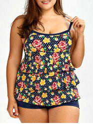 Layered Floral Plus Size Tankini Set