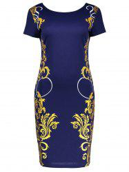 Round Collar Printed Sheath Dress