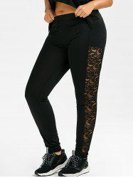 Plus Size Lace Side Tight  Leggings