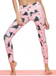 Tropical Leaf Print Gym Leggings -